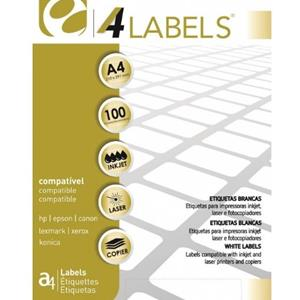 ETIQUETAS BRANCAS A4 5* /4LABELS  210x297mm 100FLS