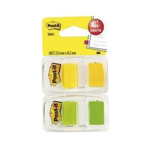 SINALIZADOR Post-it® INDEX MEDIO 25,4x43,1mm [50unid.] AMARELO +  VERDE FLUORESCENTE