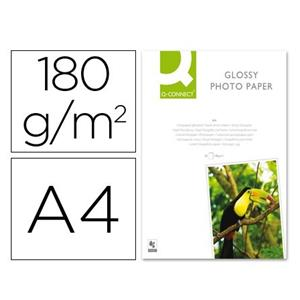 PAPEL FOTO GLOSSY 180 G/M2 DIN A4 50 FOLHAS Q-CONNECT