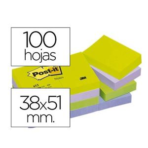 BLOCO DE NOTAS ADESIVAS NÉON CORES SORTIDAS 38 X 51 MM POST IT